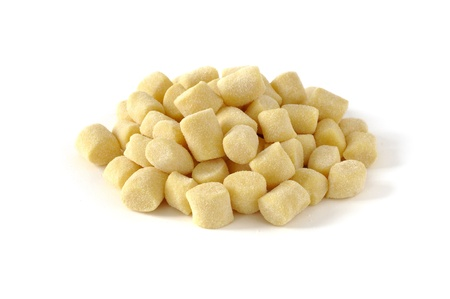 Gnocchi, fresh italian pasta, white background