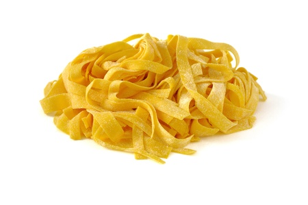 Tagliatelle, italian egg pasta, isolated on white Stock Photo - 16759299