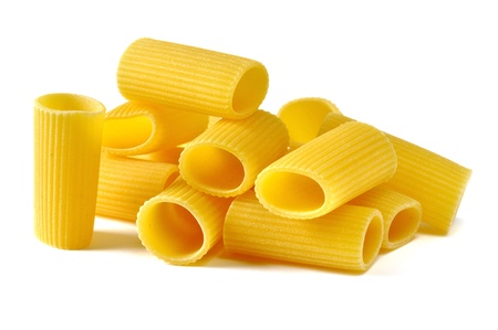 Rigatoni, italian pasta, white background Stock Photo