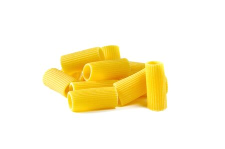 Rigatoni, italian pasta, white background Stock Photo - 16759284