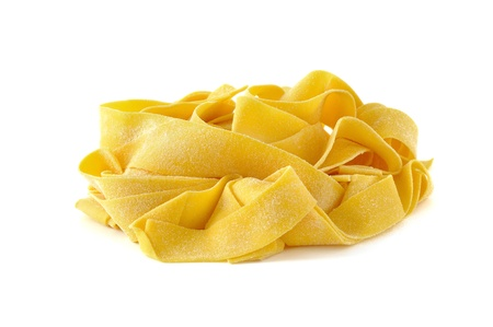 Pappardelle, italian egg pasta, isolated on white