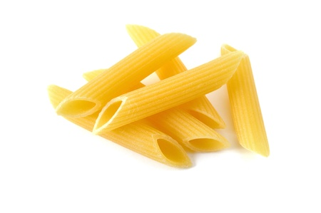 Penne, italian raw pasta, white background