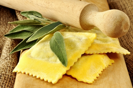Ravioli, italian egg pasta filled with ricotta and spinach