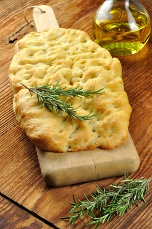 Focaccia with rosemary, olive oil and coarse salt photo