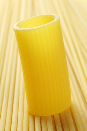 pizzoccheri:  Rigatoni and spaghetti, raw pasta, closeup