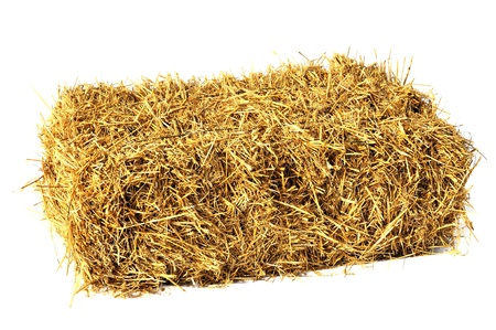 Hay bale isolated on white photo