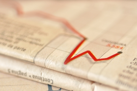 Stock market performance on a financial newspaper, selective focus