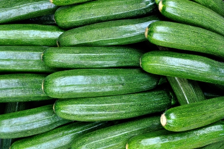 Freshly picked zucchini, food background