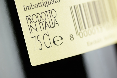 Label of a bottle of italian red wine, closeup