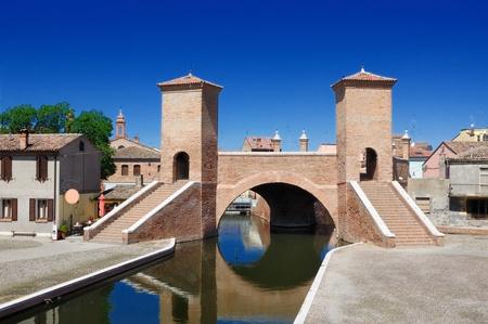 emilia romagna: View of the historical Trepponti bridge, symbol of Comacchio, Ferrara, Emilia Romagna, Italy,