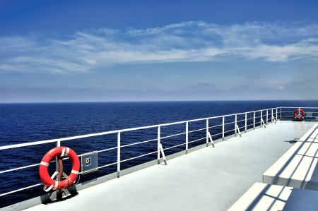 Boat deck and railing photo