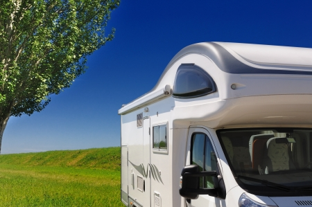 recreational area: Camper parked in the countryside in Italy Stock Photo
