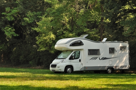 Camper parked in a countryside in Italy Archivio Fotografico