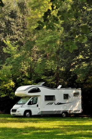 caravan: Camper parked in a countryside in Italy Stock Photo