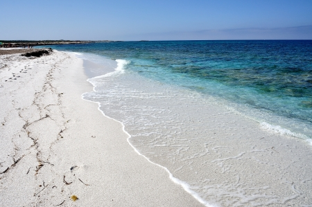 characterized: View of Mari Ermi beach, characterized by a shining white quartz sand, Sardinia, Italy