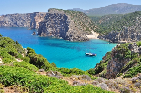 View of Cala Domestica beach, town of Buggerru, Sardinia, Italy photo