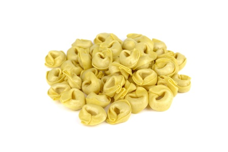 Tortellini, fresh egg pasta, italian food, isolated on white