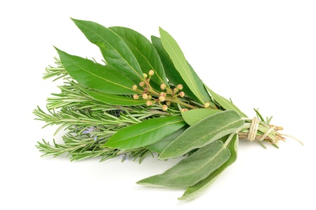 Rosemary, laurel and sage isolated on white