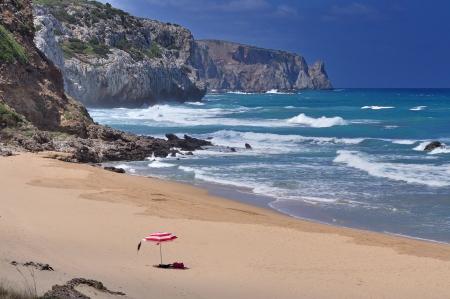 San Nicolao pláž u Buggerru, Sardinii v Itálii Reklamní fotografie