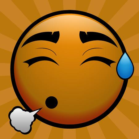gele emoticon voelt een opluchting