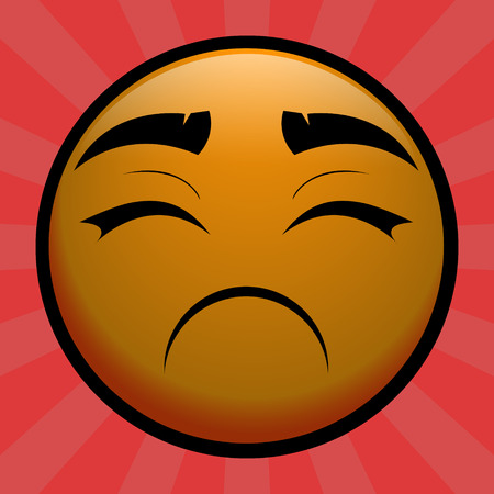 Very Sad yellow emoticon on red background Illustration