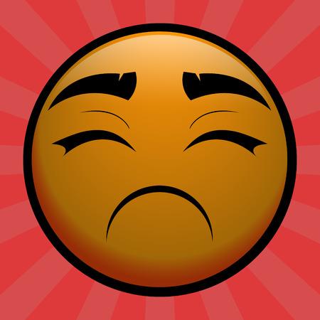 cheerless: Very Sad yellow emoticon on red background Illustration