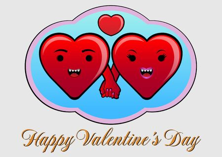 Funny hearts couple, holding the hands on Valentine day Vector