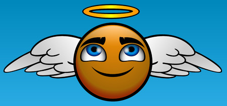 Angel emoticon take you to heaven Vector