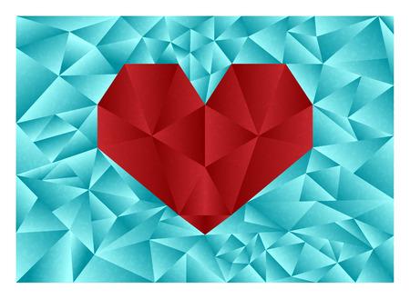 coeur diamant: R�sum� illustration repr�sentant diamant coeur rouge sur un fond du diamant bleu