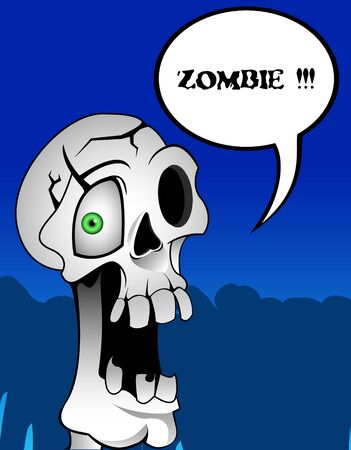 life after death: Funny horror zombie skull or death Illustration