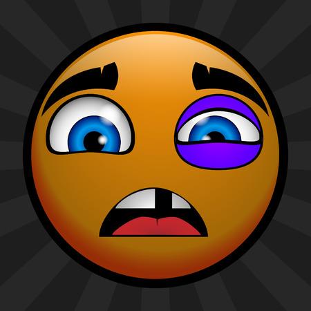 Yellow emoticon was beaten Vector