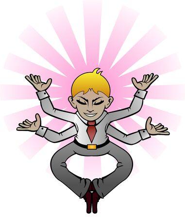 The meditator businessman, having his hands full