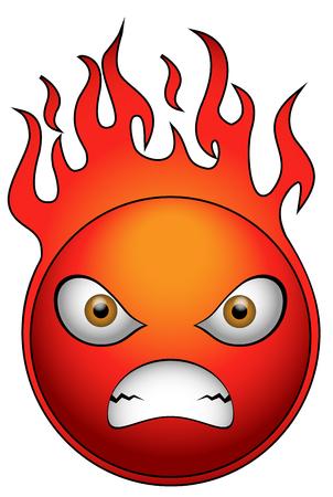 venganza: pelota muy enojado en el fuego