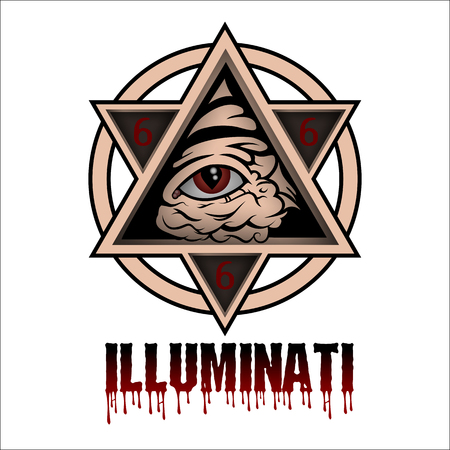 antichrist: All seeing eye pyramid symbol Illustration