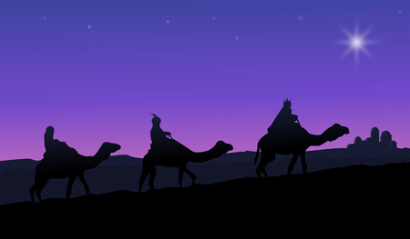 holy: Three wise men on camels following the star Illustration