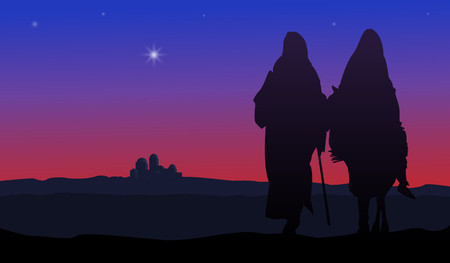 mary and jesus: Bethlehem Christmas. Star in night sky above Bethlehem Illustration