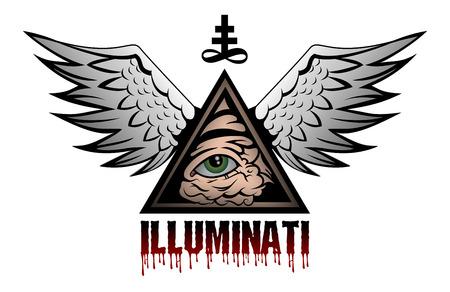 all seeing eye: All seeing eye pyramid symbol Illustration