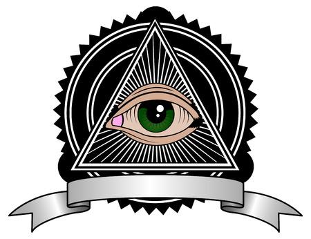 all seeing: All seeing eye pyramid retro symbol Illustration