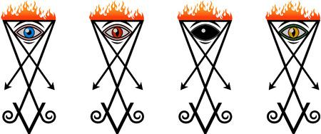 lucifer: A set of symbols Lucifer eye in four variants Illustration