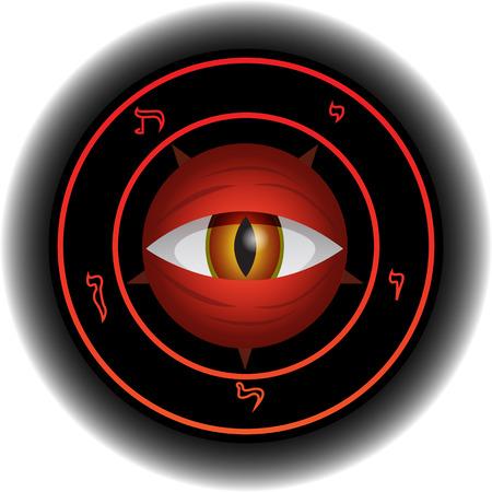 diabolical: Eye of powerful and diabolical Satan in magical sign