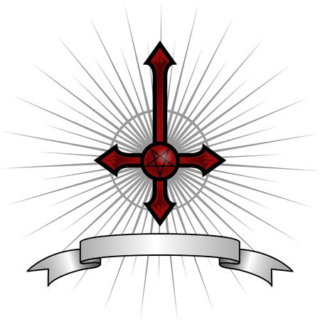 Inverted cross with a pentagram in the middle