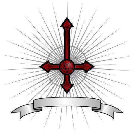 Umgekehrtes Kreuz mit einem Pentagram in der Mitte