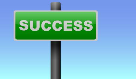 green road: Green road sign to success
