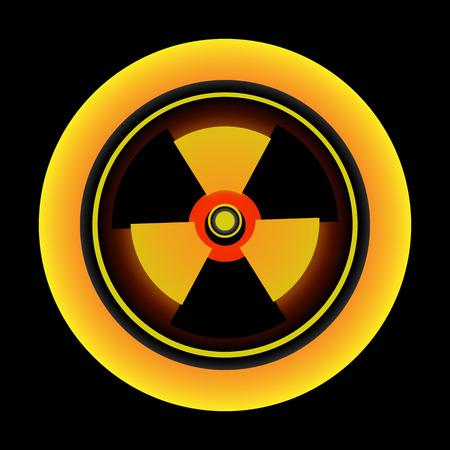 radioactivity: Radiación simple botón, átomo de radiactividad