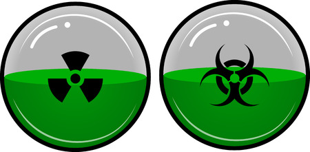 chemical weapon symbol: Dangerous, radioactive liquid in a container in the shape of a sphere