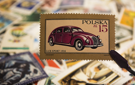 Philately - Postage stamp with car LUX -Sport 1936