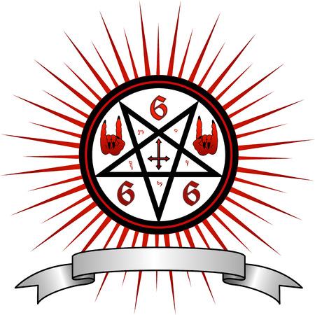 satanic: illustration full of magic and satanic symbols