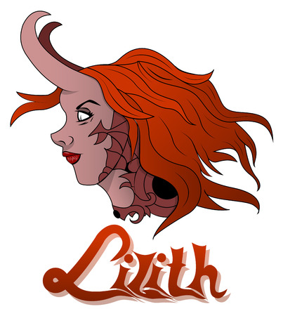 dark haired woman: Illustration of bad, diabolical, a woman named Lilith Illustration