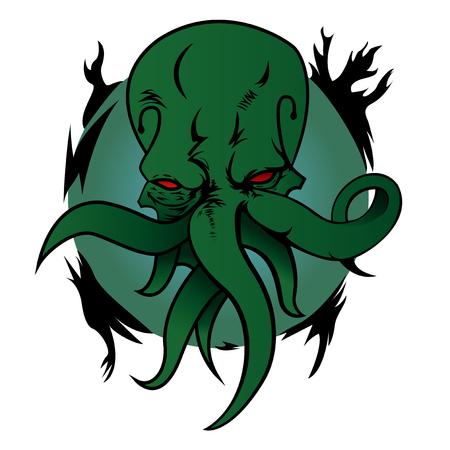 creepy alien: Illustration of monster Cthulhu