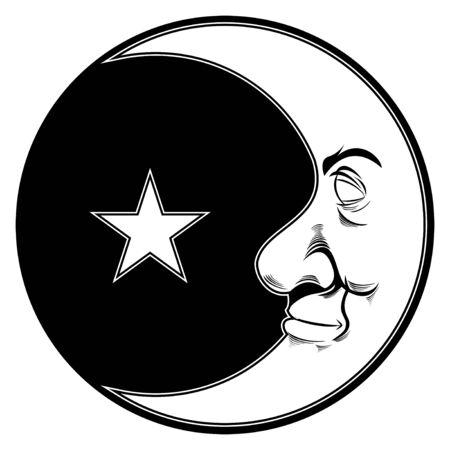 illustration of moon profile